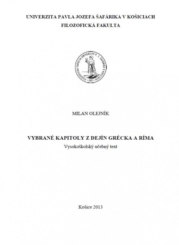 Vybrané kapitoly z dejín Grécka a Ríma