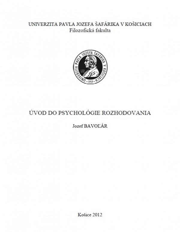 Úvod do psychológie rozhodovania