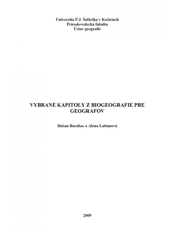 Vybrané kapitoly z biogeografie pre geografov